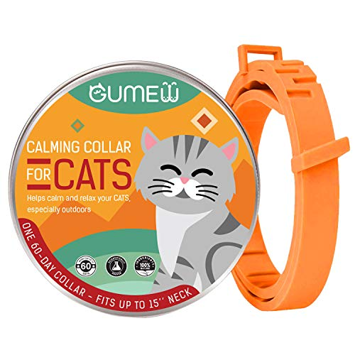GUMEW Calming Collar for Cats - Anti Anxiety, Adjustable Pheromone Calm Collars - Fits All Small, Medium and Large Cat to Relieve Natural Stress, Fireworks Anxiety, Calming Aid