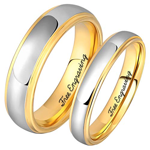 Aeici 4MM 6MM His and Her Ring Personalized Customized Satinless Steel Promise Ring Silver GoldSize 6