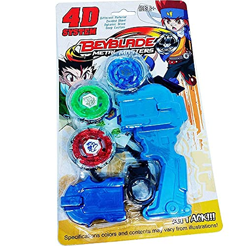 VAIDUE Metal Fusion Spinning Top for Kids Beyblade with Beautiful Design and Multicolor Girls Boys Metal ripchord Launcher Fighter Fury Fight Ring Handle Launcher (4D Beyblade)