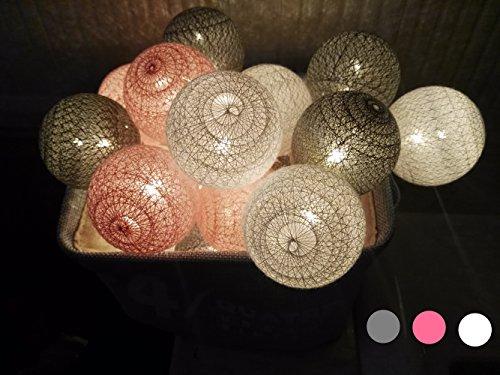 Morbuy LED Lichterkette mit Kugeln, 6CM Baumwollkugeln Mit 10/20/30 Bällen Batteriebetrieben Licht Festlich Hochzeiten Geburtstag Party Cotton Ball Weihnachten Dekorative (4.8m / 30 Lichter, Grau)