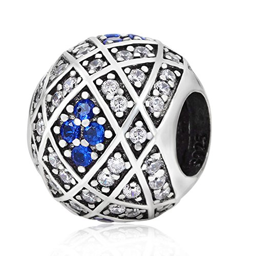 Abalorio de plata de ley 925 con diseño de corazón y diamantes...