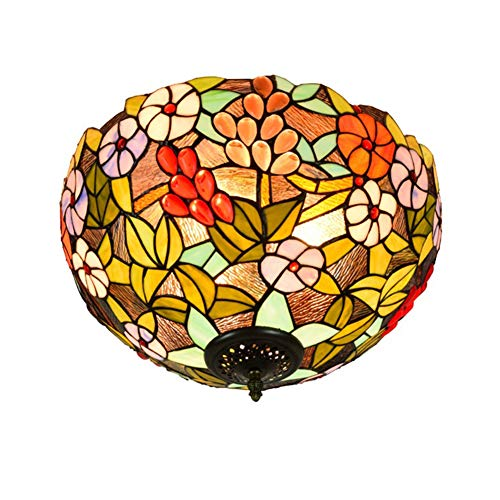 GUOGEGE Tiffany plafondlamp, 16 inch gekleurd glas druif bloemen stijl plafond lamp voor woonkamer slaapkamer keuken hal XT102