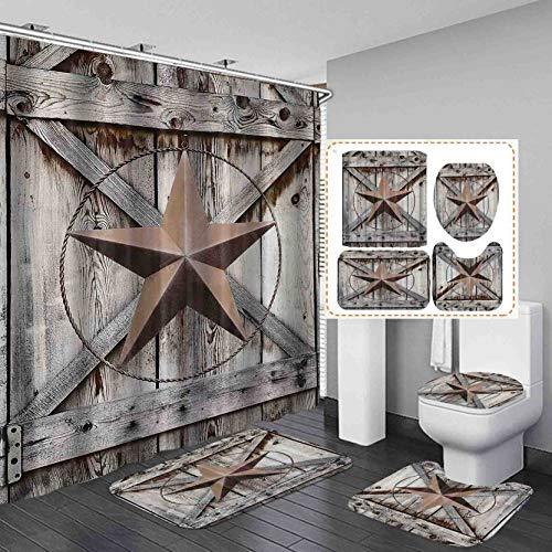 Camille&Andrew 4PCS/Set Western Texas Star Rustic Wood Shower Curtain with Rugs, Vintage Country Barn Bathroom Decor, Cloth Fabric Bath Curtain, Non-Slip Bathroom Mat Bath Carpet Toilet Rug, Star