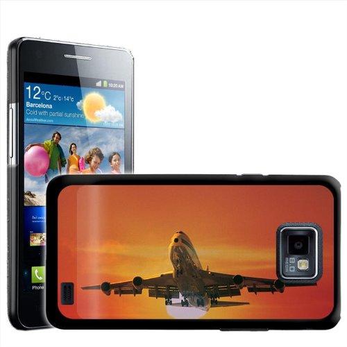 Fancy Een Snuggle Grote Airoplane Vliegen bij zonsondergang Ontwerp Hard Case Clip Op Achterzijde Cover voor Samsung Galaxy S2 i9100