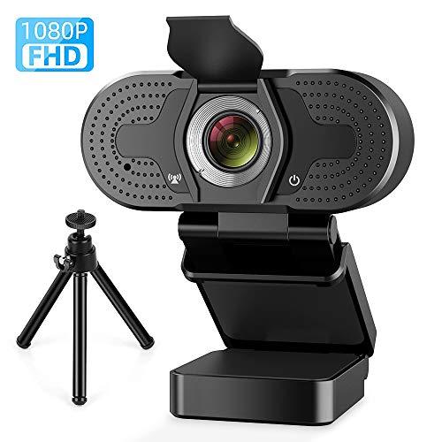 PORTHOLIC - Webcam con micrófono, Full HD 1080P, cámara para Ordenador con Cubierta USB, cámara Webcam con Cubierta para Ordenador para Skype, Zoom, FaceTime, Hangouts, etc.(Negro) miniatura