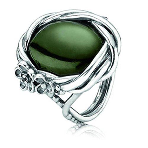 Pandora Damen-Ring mit Jade-Nephrit Und Schwarzem Zirkonia 190847Nja54