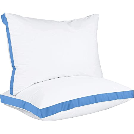 Utopia Bedding Gusseted Pillow (2-Pack) Premium Quality Bed Pillows - Side Back Sleepers - Blue Gusset - Queen - 18 x 26 Inches