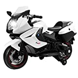 Uenjoy Kids Motorcycle Electric Ride On Motorcycle 12V, Headlight, 2 Wheels with Training Wheels, White
