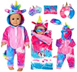 ebuddy 6 Pcs Colorful Tie-Dyed Unicorn Sleepwear Sleeping Bag Set Doll Accessories for 18 inch Our Generation Doll,American Girl Doll and 16-18 inch Baby Doll