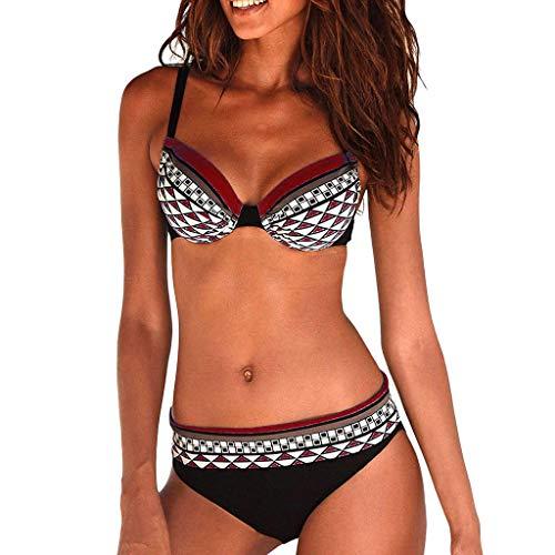 Riou Sexy Bikini Damen Set Push Up High Waist Zweiteilige Bikinis Oberteil Frau Sommer Sportlich Kleine Brüste Cups Grosse Grössen Bademode Tankinis mit Bügel für Beach Monokini (Wine, M)