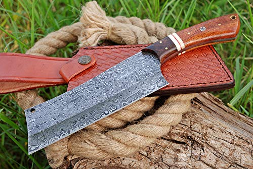 Damascus Meat Cleaver Knife, Damascus Steel Chef Knife & Butcher Knife - Multipurpose Sharp Knife, Vegetable Cleaver & Meat Cleavers, Kitchen Knife for Meat with Rose Wood Handle & Knife Sheath