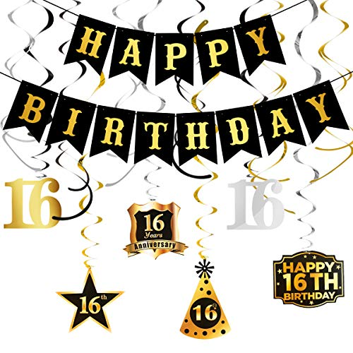 Black Happy Birthday Banner and Happy 16th Birthday Party Swirls Streamers- 16th Birthday Party Decorations for Boys,Cheers to 16 Years Old Birthday Party Supplies,16th Birthday Party Decorations