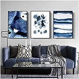 Wallpaper M Blue Canvas Art Carteles e Impresiones Pintura Abstracta Minimalismo nórdico Cuadros de Pared para Sala de Estar Decoración Moderna del hogar- 40x60cmx3 Sin Marco