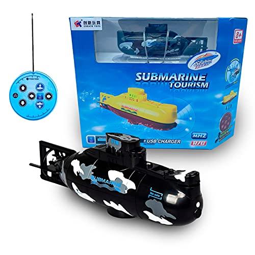 JUGUETECNIC │ Mini Submarino Teledirigido Barco RC | Submarino Radiocontrol con Mando Control Remoto │ Juguete para Niños Agua Dulce │ Libres de interferencias