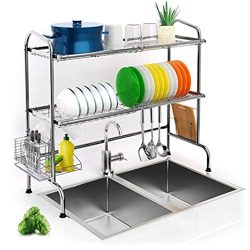 Over Sink Dish Drying Rack, iBesi 2-Tier Stainless Steel Stable Dish Drainer Shelf Rust Free Multifunctional Storage Organizer With Utensils Holder for Kitchen Sink Countertop (Sink size≤32.5in)