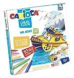 Carioca- Create & Color Pop-Up 3D con 10 Pennarelli Superlavabili a Doppia Punta-Mr. Boat, 42905