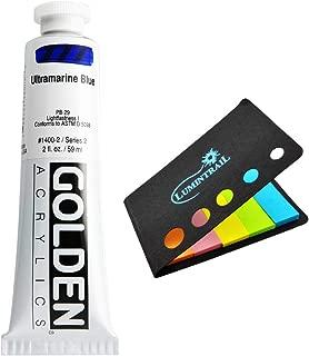Golden Heavy Body Acrylic - 2 oz Tube Bundle with a Lumintrail Colored Sticky Notes Set (Ultramarine Blue, 2 oz Tube)