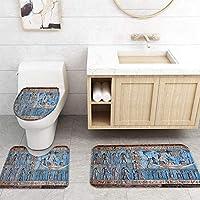 ZGDPBYF 浴室用アップホームバスマット象形文字レトロプリントバスマットシャワーフロア用カーペットバスタブマット