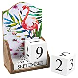Juvale Wooden Perpetual Desk Calendar Wood Blocks, Flamingo Design (5.5 x 8.75 x 3 inches)
