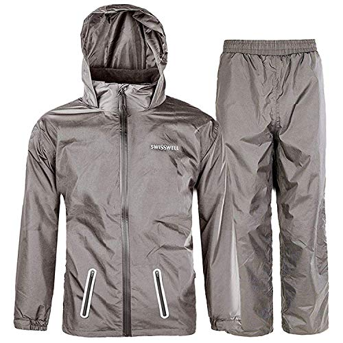 SWISSWELL Boys Waterproof Hooded Rainsuit Graphite Size 8