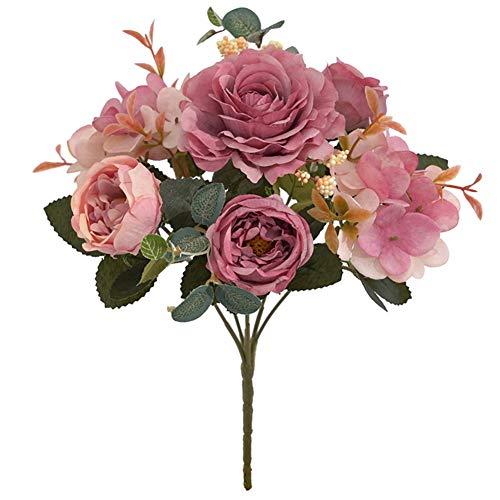 Novia De Seda Artificial del Peony De Seda Vintage Flores Ramos De Novia Peony Paquete De Sala De Estar Casera Decoración De La Boda Arreglo Color De Rosa
