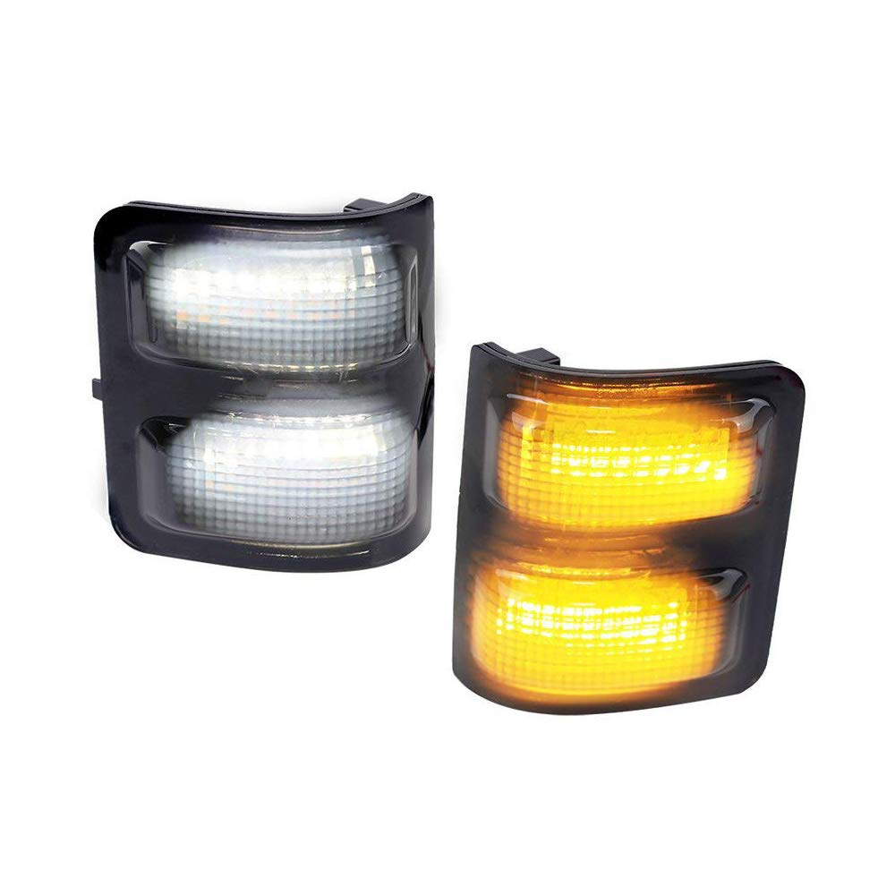 White LED Parking Light iJDMTOY Switchback LED Side Mirror Marker Lamps For 2008-16 Ford F250 F350 F450 Super Duty, Smoked Lens 2 Amber LED Turn Signal Light iJDMTOY Auto Accessories Replace Amber Housing Lamp to LED Light