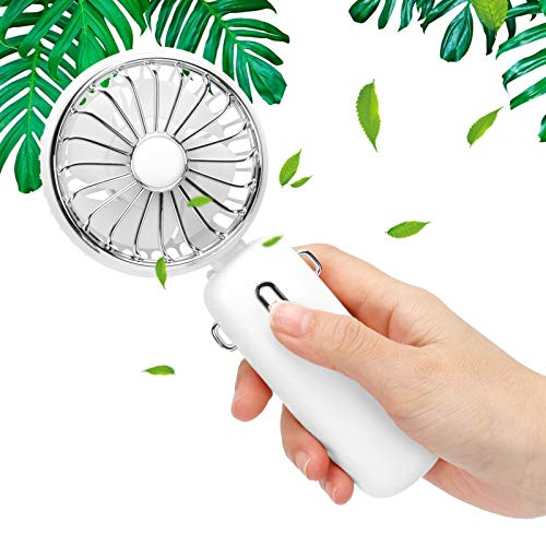 KUIDAMOS Super Mini Ventilador de Mano portátil Personal con Pilas para Oficina en casa para niñas Mujeres niños para Interiores y Exteriores(White, Pisa Leaning Tower Type)