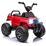 12V Kids Powered Electric ATV Quad Ride On Car Truck, 2 Speeds, Shock Absorbent Suspension, LED Lights, MP3, Black (Red)
