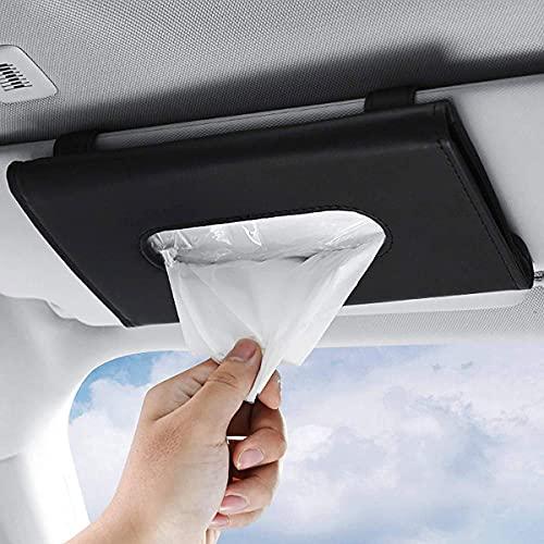 ItsyFox Auto Tissue Halter, PU Leder Auto Taschentuchhalter, Auto Taschentuchbox Halterung, Auto Gewebe Box mit Reißverschluss für Sonnenblende & Rückenlehne - Schwarz