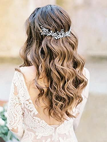 Runmi Pelo de perlas para novia, color plateado, accesorios para el cabello de novia, diademas de cristal, hojas de novia para mujeres y niñas