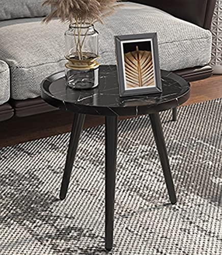Mesa auxiliar pequeña redonda gruesa impermeable y resistente al desgaste para sala de estar, dormitorio, balcón, sofá cama (patrón negro, 40 x 40 x 53 cm)