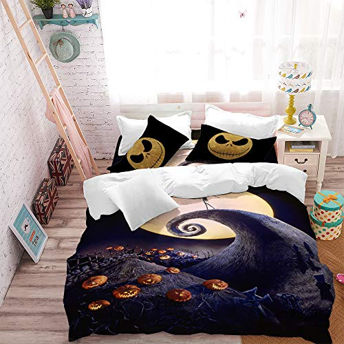 Jessy Home Halloween Pumpkin Duvet Set 3pc King Size Nightmare Before Christmas Cartoon Halloween Bedding 1 Quilt Cover with Ghost Smile 2 Pillow Cover for Children Adult Halloween Decor Gift