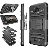Moto Z Play Case, Moto Z Force Holster Belt, Tekcoo [Hoplite] Shock Absorbing [Black] Locking Clip Defender Heavy Full Body Kickstand Carrying Armor Cases Cover for Motorola Moto Z Force/Play Droid