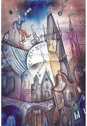 Y-fodoro Abstrakte Uhr Puzzles, Picasso Farbmalerei Erwachsene 1000 Stück Kunst Holz Puzzle, Kinder Kinder Teenager