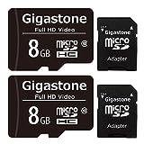 Gigastone 8GB Tarjeta de Memoria Micro SD, Paquete de 2, Video Full HD, Cámara de Acción, Cámara de Vigilancia y Seguridad, Drone Professional, 80 MB/s Micro SDXC UHS-I U1 Clase 10