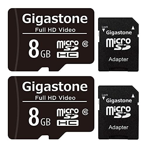 Gigastone 8GB MicroSDHC Speicherkarte 2er-Pack + SD Adapter, für Action-Kamera, GoPro, Drohne und Tablet, Lesegeschwindigkeit bis zu 80MB/s, Full HD-Videoaufnahme, Micro SD Karte UHS-I Klasse 10 U1