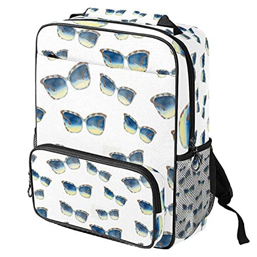 Sac à dos décontracté pour ordinateur portable, sac de travail tendance avec impression de lunettes de soleil pour femme/fille/homme