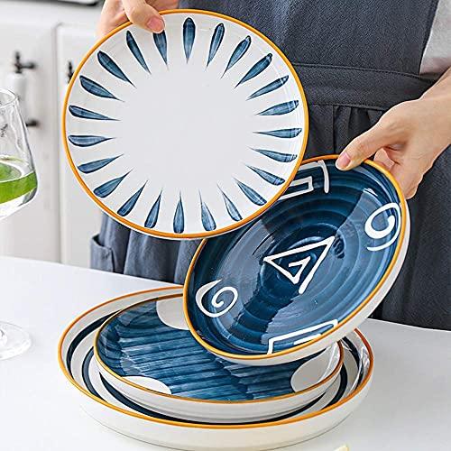 Platos de cena de 4 piezas - Plato plano de cerámica de estilo y estilo japonés, platos y cubiertos redondos retro pintados a mano creativos para carne, hogar y cocina, plato de comida occiden