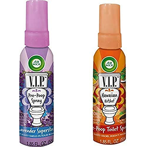 Air Wick V.I.P. Pre-Poop Toilet Spray, Up to 100 uses, Contains Essential Oils, Lavender Superstar Scent and Pre-Poop Toilet Spray Contains Essential Oils, Hawaiian Hotshot Scent, Travel Size