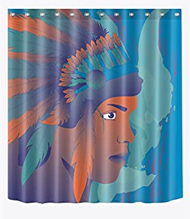 LB American Native Indian Portrait Feather Headdress Artistic Shower Curtain for Shower Stall, Ethnic Theme Decor Curtain, Water Repellent Decor Curtain, 70 x 70 Inch
