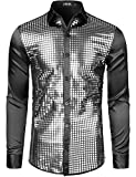JOGAL Mens 70s Disco Costume Silver Sequins Long Sleeve Button Down Shirts Large Black