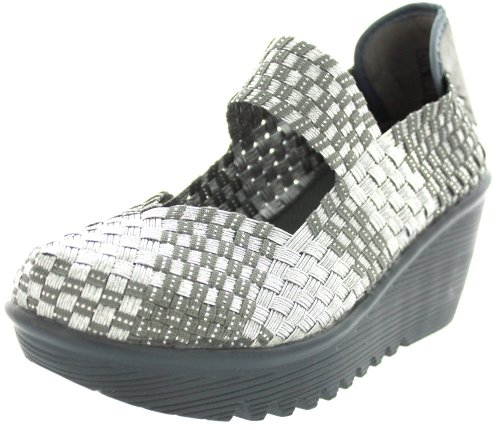 Bernie Mev womens Lulia loafers shoes, Silver Gray, 8.5 US