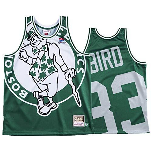 WOLFIRE WF Camiseta de Baloncesto para Hombre, NBA, Boston Celtics # 33 Larry Bird Bordado, Transpirable y Resistente al Desgaste Camiseta Retro, Classic (Bird Big Face, S)