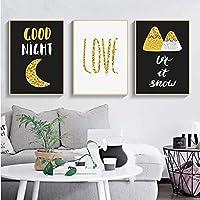 北欧の装飾ブラックホワイトゴールデンウォールアートキャンバス絵画ポスターとプリント壁の写真リビングルームの家の装飾壁画-40x603pcs NoFrame