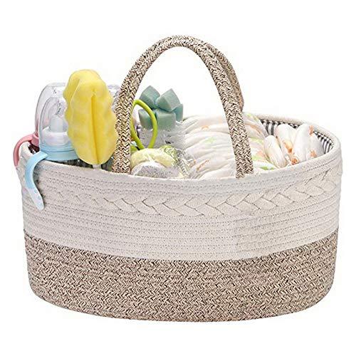 MOC Organizador de pañales para bebé, cesta organizadora para pañales de bebé, con 3 compartimentos, de algodón puro, cuerda y cesta de almacenamiento (blanco + marrón)