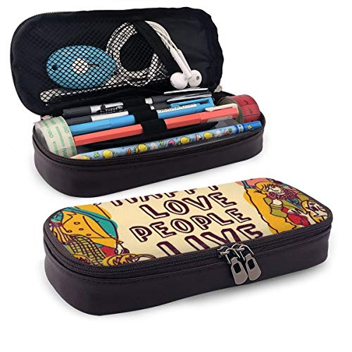 Pencil Case Big Capacity Storage Holder Desk Pen Pencil Marker Stationery Organizer Pencil Pouch with Zipper,Group People Motivational Illustration With Be Happy Love People Live In Peace Phrase