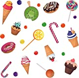 Home Art Decor Sweets Pastries & Desserts Wall Decal Sticker | 19' x 20' Vinyl Kids Bedroom Living Room Design Assorted Ice Cream Cones Lollipop Cupcakes & Candies Removable Wall Decoration