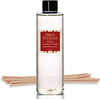 Urban Naturals Cranberry & Pine Scented Oil Reed Diffuser Refill | Includes a Free Set of Reed Sticks! 4 oz.