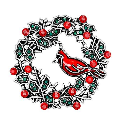 YAZILIND Rhinestone Guirnalda pájaro Navidad Broche Pins Mujeres niñas Breastpin Ramillete Navidad Regalo de joyería