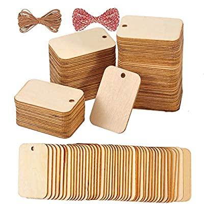 """Gerodaphin 120 Pcs Unfinished Wood Pieces Blank Rectangle-Shaped, Light Wooden Tags Natural Rustic with Hole for Craft Projects, Hanging Decorations, Painting, Staining (2"""" x 1.3"""")"""